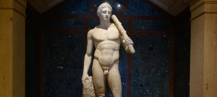 Repared Roman sculpture of Hercules at the Getty Villa in Los Angeles