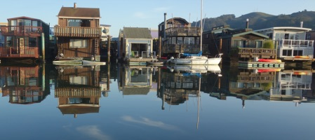 House boats in Sausalito, California