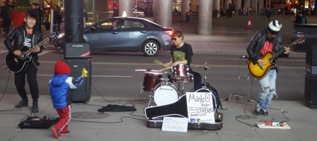 Japanese band playing on the street in Toronto