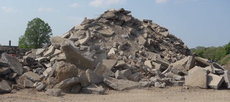Pile of rubble in the filled in Inner Loop