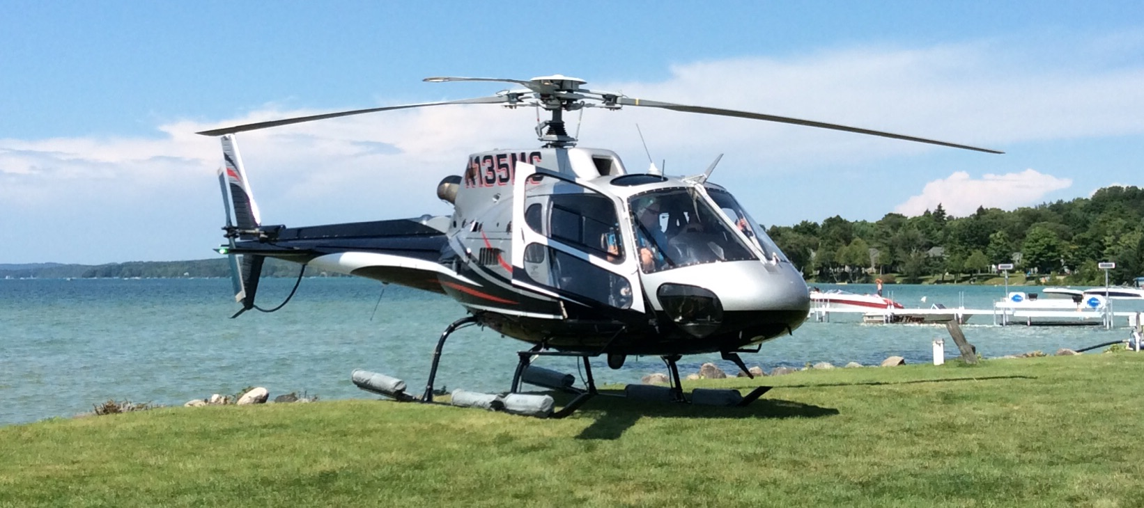 Helicopter on Torch Lake