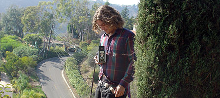 Andrew with his medium format Kodak camera