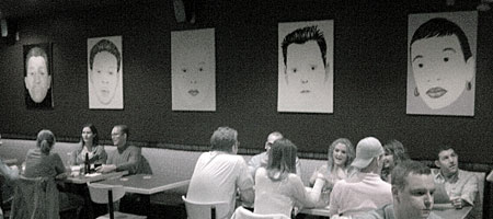 Paul Dodd Mug Shot Paintings at Tap And Mallet in Rochester, NY