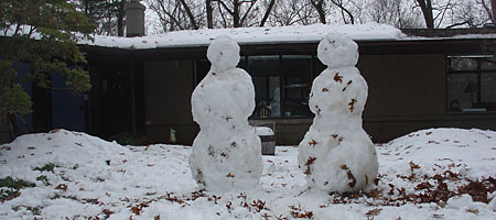 Snowmen in front of our house