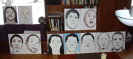 Paul Dodd Crime Face Paintings in Living Room Early 2008