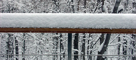 Snow on deck railing in Rochester NY
