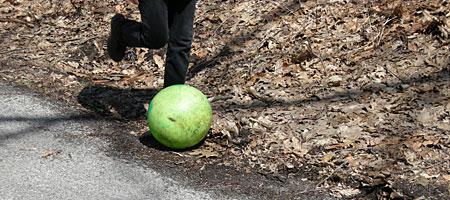 Peggi with green ball.