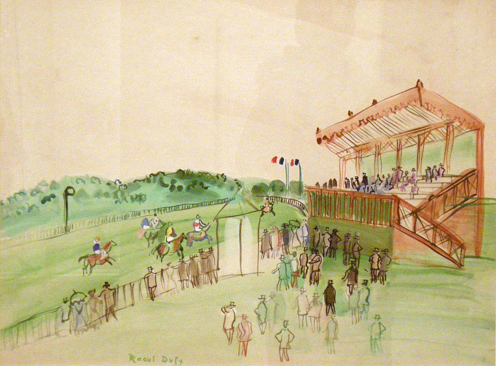 """Raoul Dufy painting """"Race Track at Saint-Cloud"""" from the Memorial Art Gallery of Rochester"""