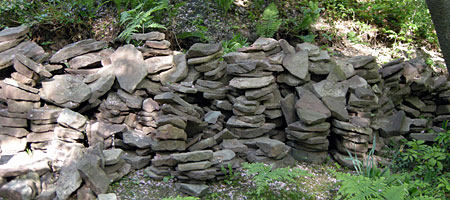 Pile of Medina stone in backyard
