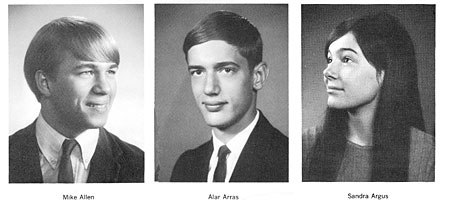 Mike Allen, Alan Arras and Sandy Argus in the 1968 RL Thomas yearbook photos