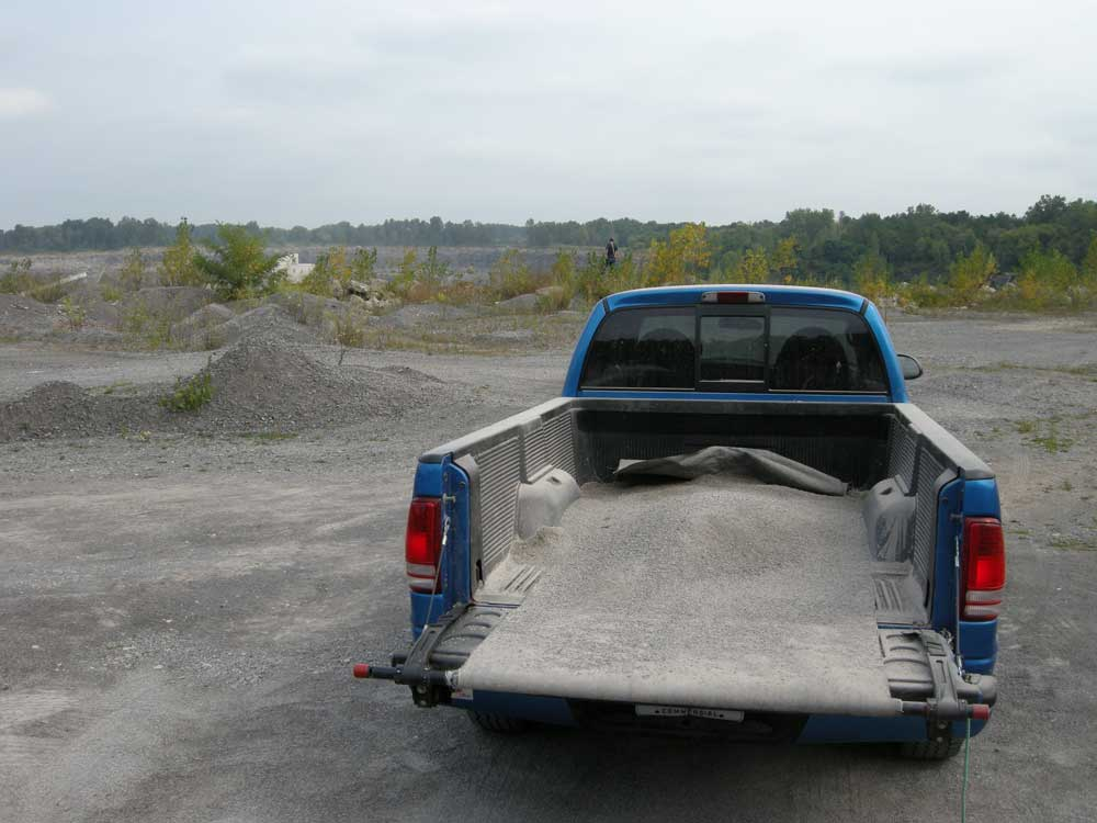 Jerod's pick up truck at the quarry in Penfield