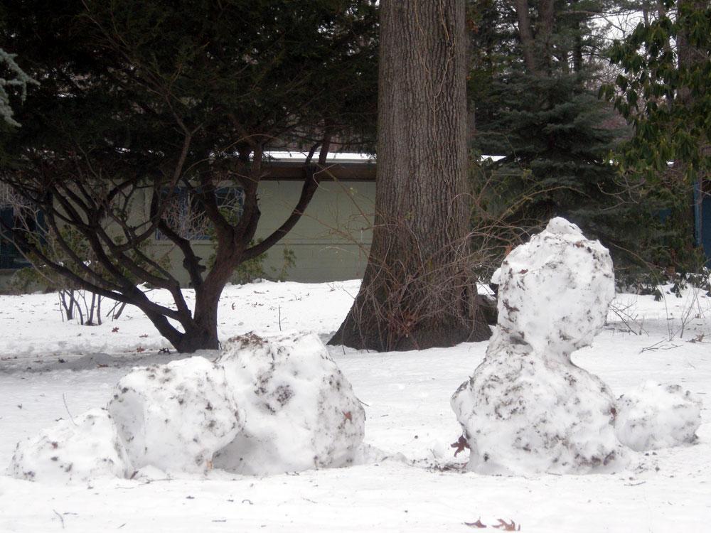 Dead Snowmen in our front yard