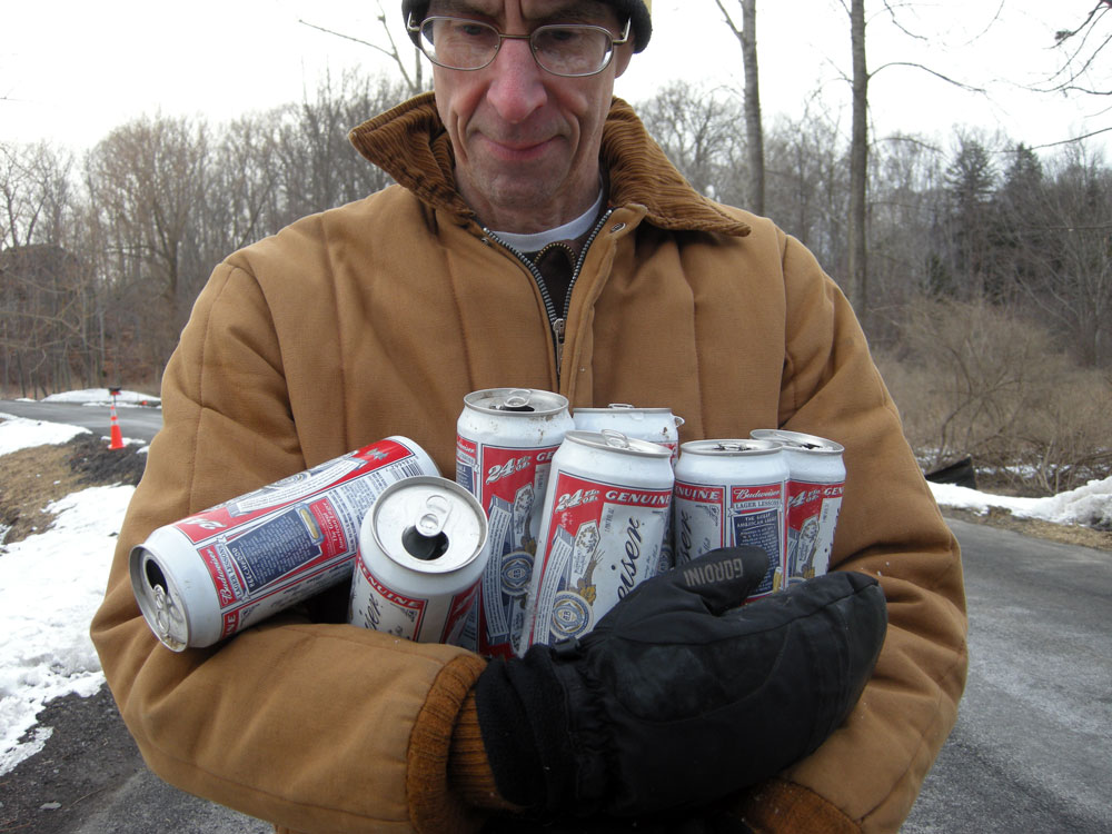 Budweiser 20 ounce cans found near side of the road