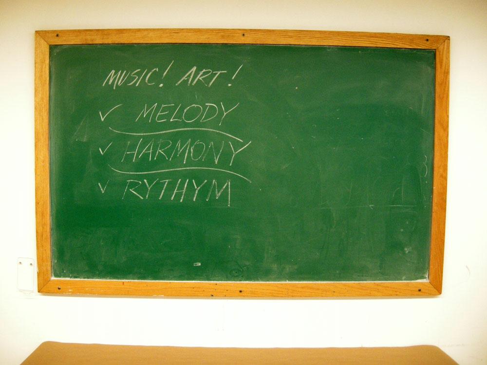 Art Music blackboard message at the Ctreative Workshop