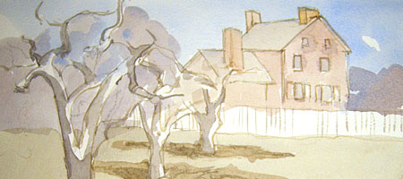 Orchard in front of the Stone Tolan House in Rochester, NY painted by Leo Dodd