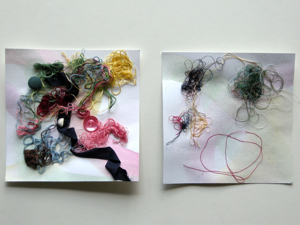 Two of Peggi Fournier pieces submitted to the Six by Six Show at Rochester Contemporary