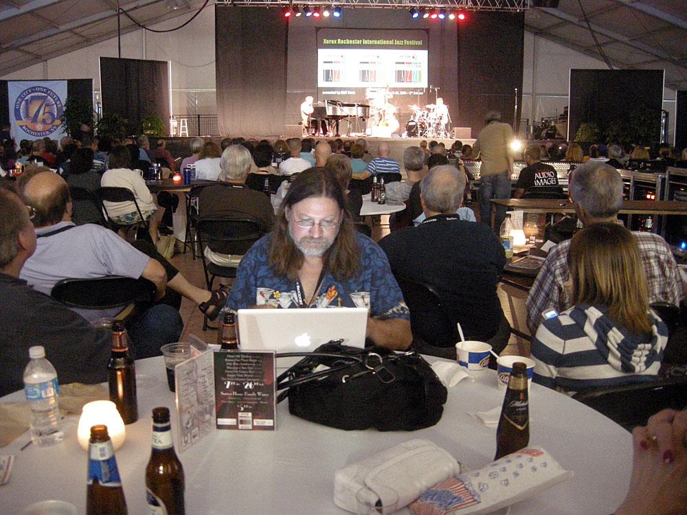 Jeff Spevak working in the tent
