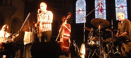 Jonas Kullhammar Quartet performing at the Luttheran Church at the Rochester International Jazz Festival