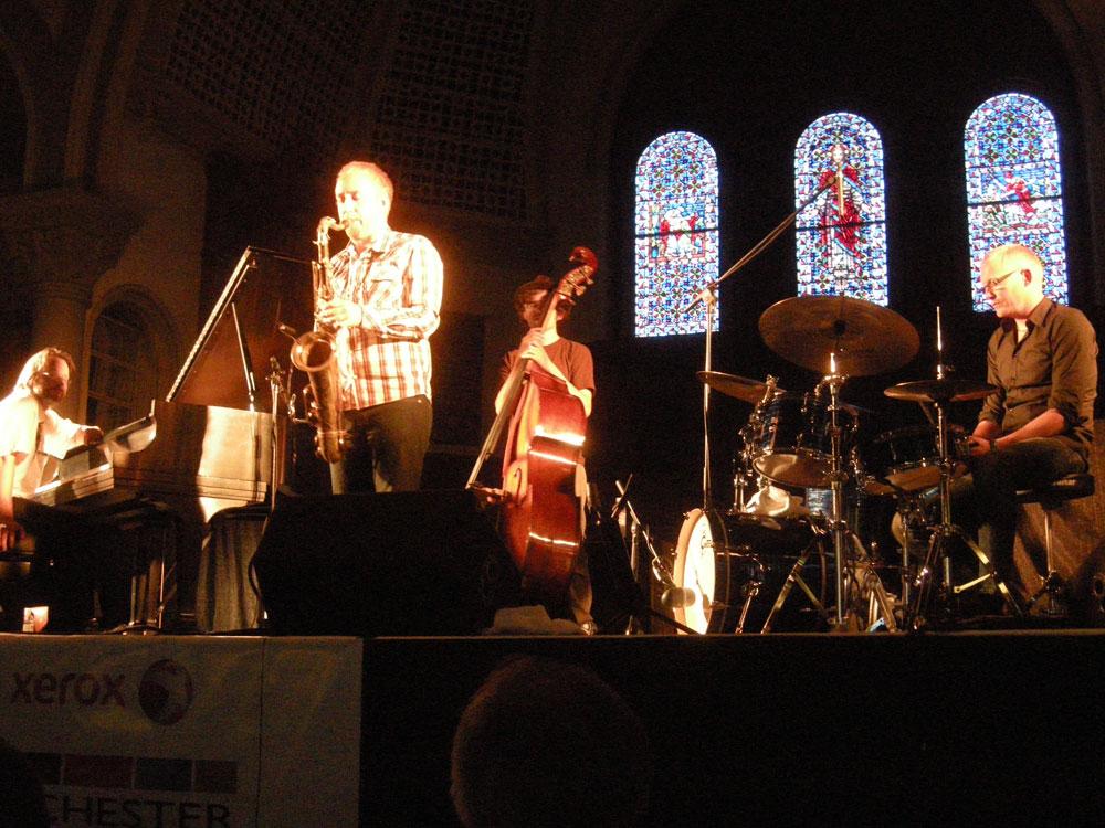 Jonas Kullhammar Quartet performing at the Luttheran Church at the Rochester International Jazz Festival