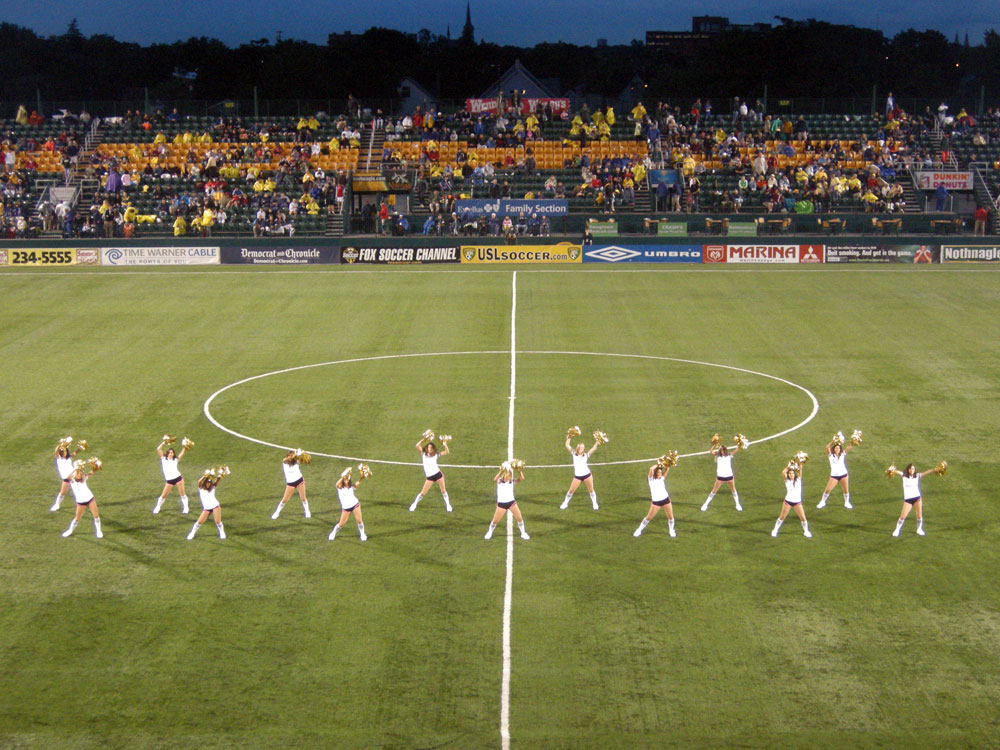 Cheerleaders at Rochester Rhinos game