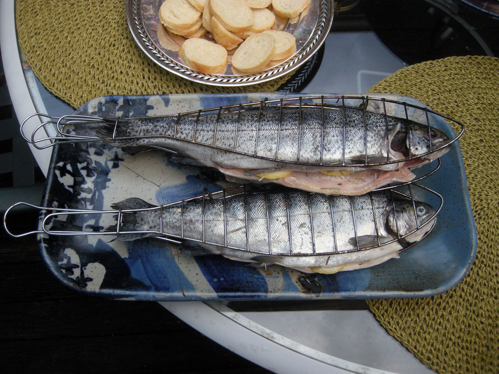 Trout for the grill at Anne Haven's house