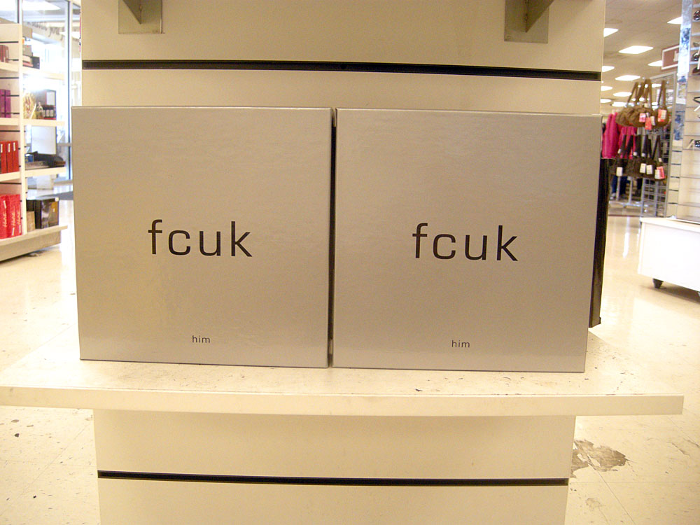 Fcuk for him on display at A. J. Wright store in Rochester, New York