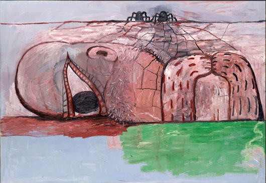 """Philip Guston """"Web"""" 1975 on view at the Memorial Art Gallery in Rochester, NY in """"Paint Made Flesh"""" show."""
