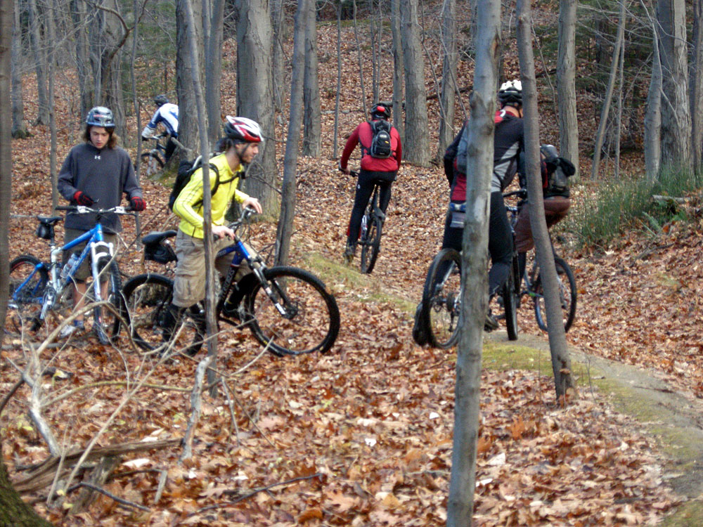 Bikes on trails in Durand Eastman Park