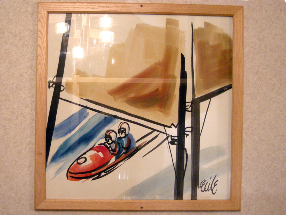 Bob sled painting at the Lake View Motel in Lake Placid, New York