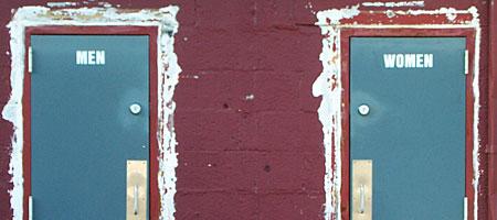 Bathroom doors at Vic & Irvs