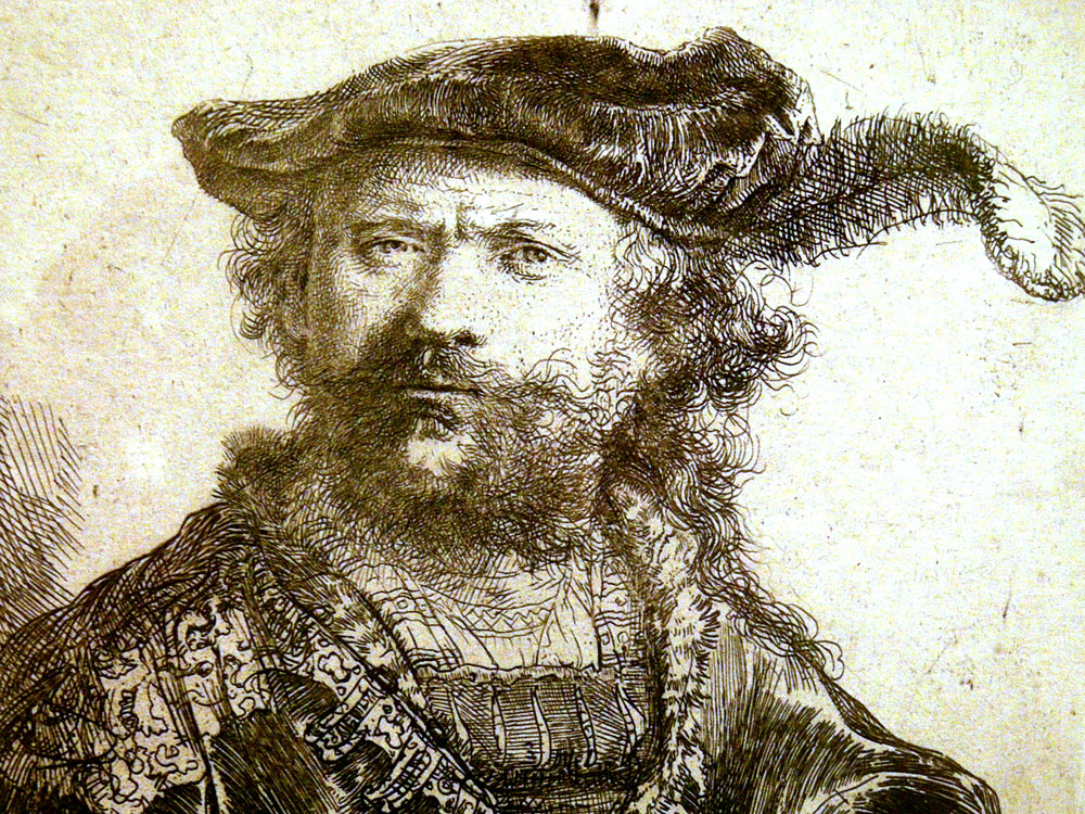 Detail of a Rembrandt self portrait etching at the Memorial Art Gallery in Rochester, NY