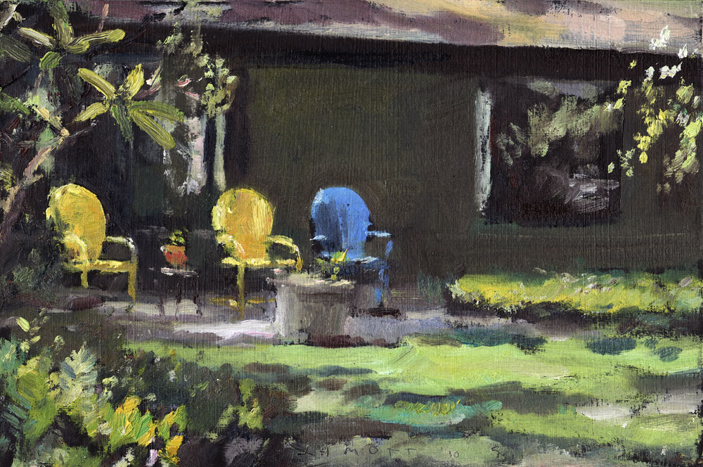 Chairs at Chairs at Peggi and Paul's. Painting by Jim Mott and Paul's. Painting by Ji
