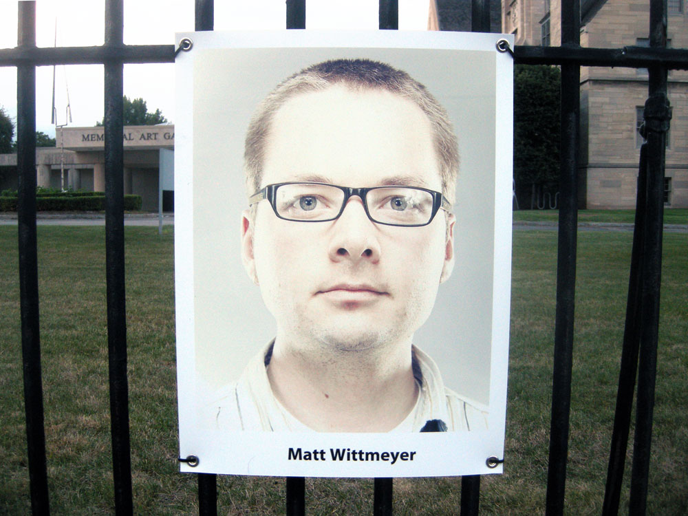 Matt Whitmeyer self portrait at the Memorial Art Gallery in Rochester, New York