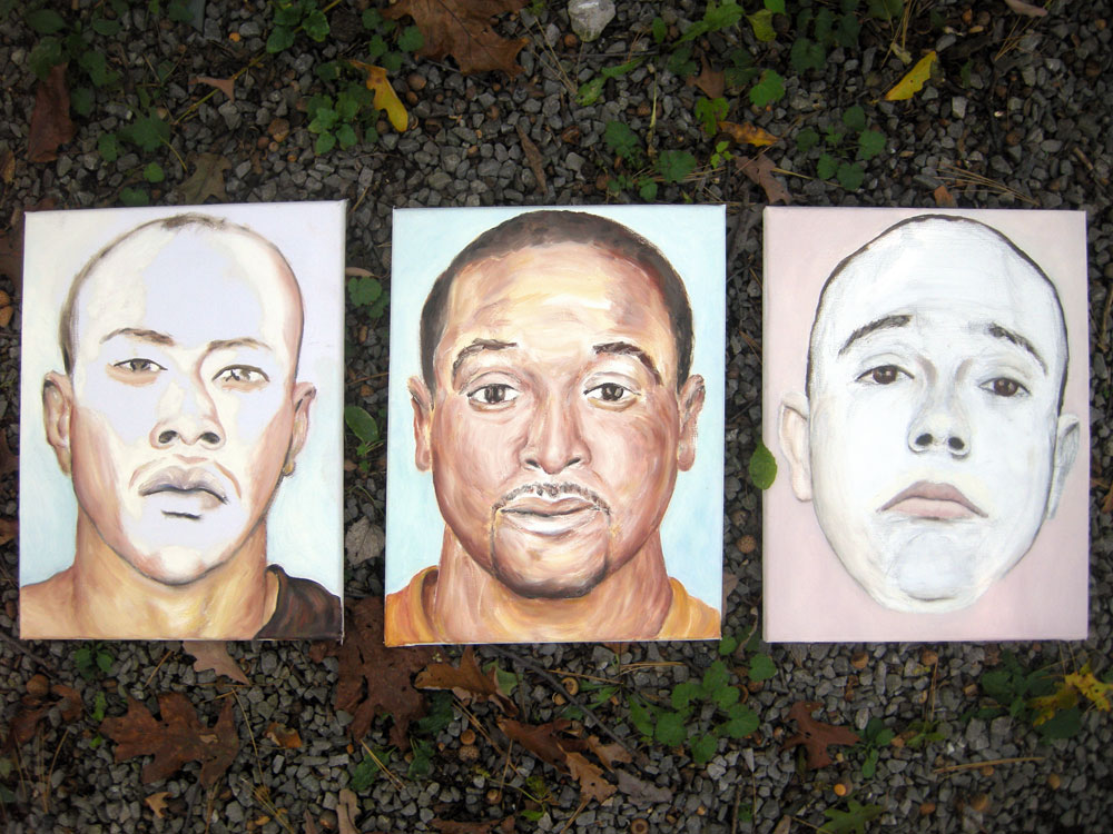 Three CrimeFaces (Rochester mug shots) for Lucy Bryne Show at Creative Workshop in Rochester, NY