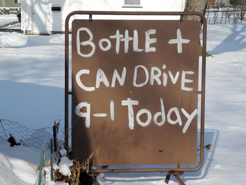 Bottle Can Drive Sign on Culver Road in Rochester, New York