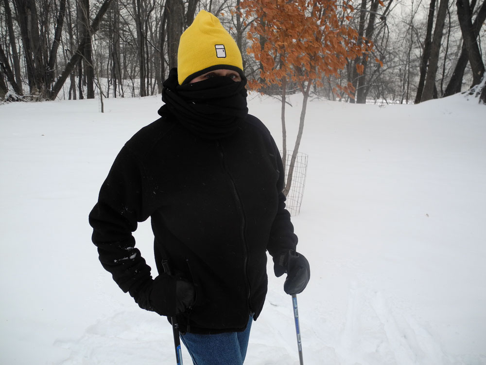 Peggi skiing while on a frigid day while sporting her Refrigerator hat