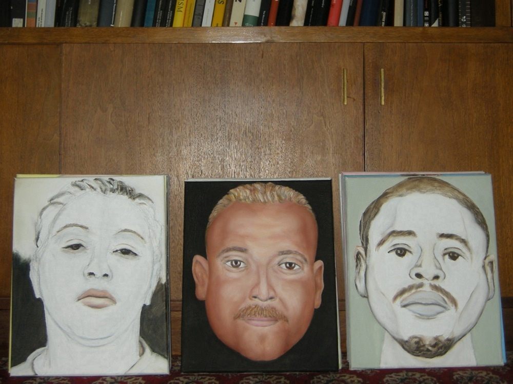 Three stacks of crime faces from the local paper. Oil paintings by Paul Dodd