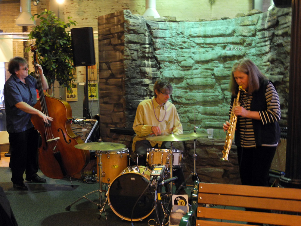 Ken Frank, Paul Dodd and Peggi Fournier playing as a trio version of Margaret Explosion at High Falls in Rochester, New York