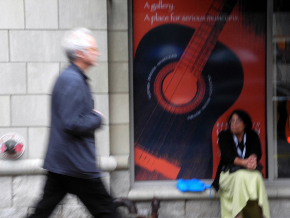 Bill Frisell on the street before his show at the Rochester International Jazz Fest