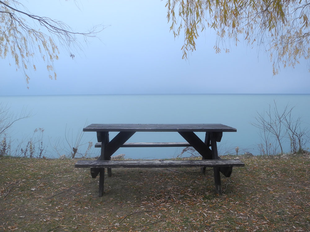 Picnic table in park along Lake Road near Sea Breeze in Webster, New York