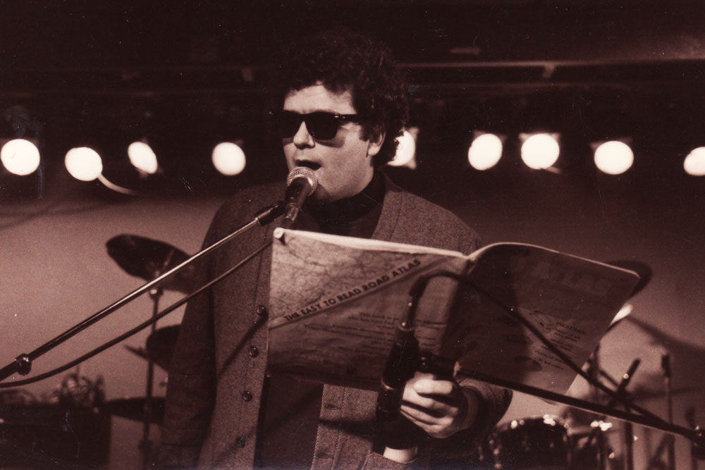 Chuck Cuminale aka Colorblind James opening for Personal Effects at Scorgies in 1985. Photo by Gary Brandt.