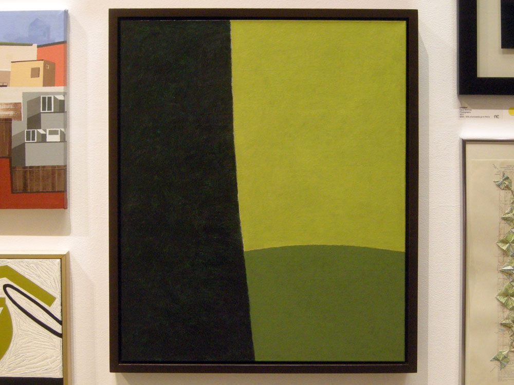 "Alice de Mauriac painting entitled ""Interval Before The Brink"" at Rochester Contemporary Members Show"