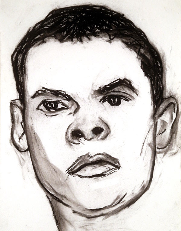 """Paul Dodd """"Model From Crime Page"""" charcoal on paper 2011, 11""""x14"""""""