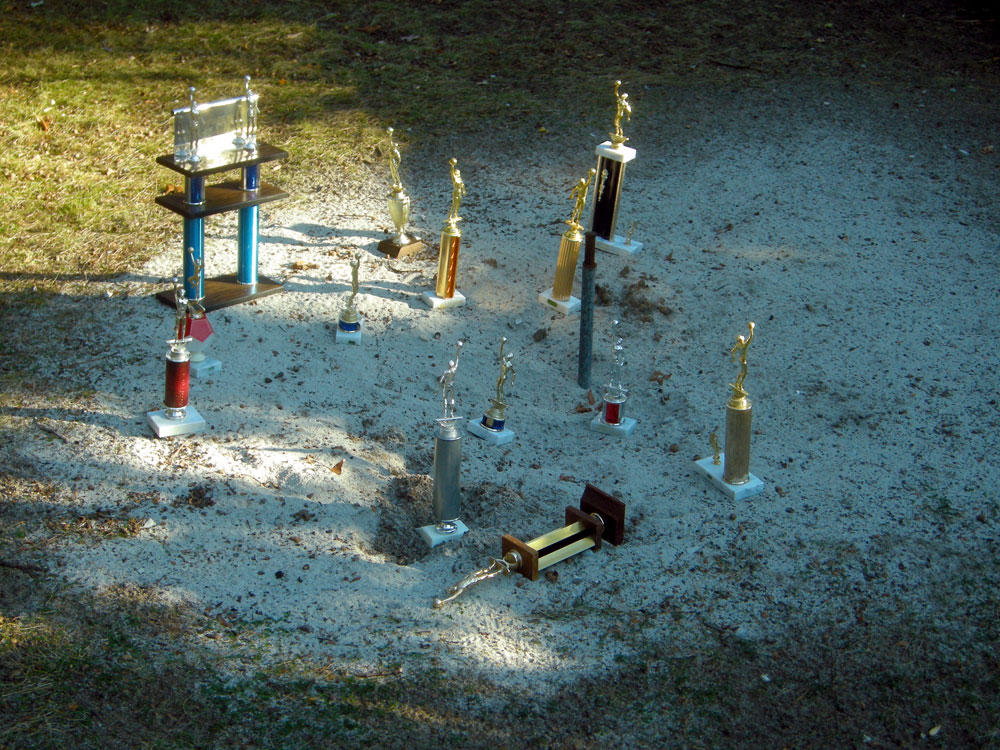 Basketball trophies in the horseshoe pits