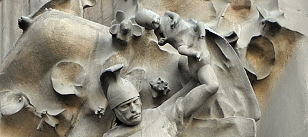 Roman soldier with sword and babies, Gaudi Sagrada Familia, Barcelona