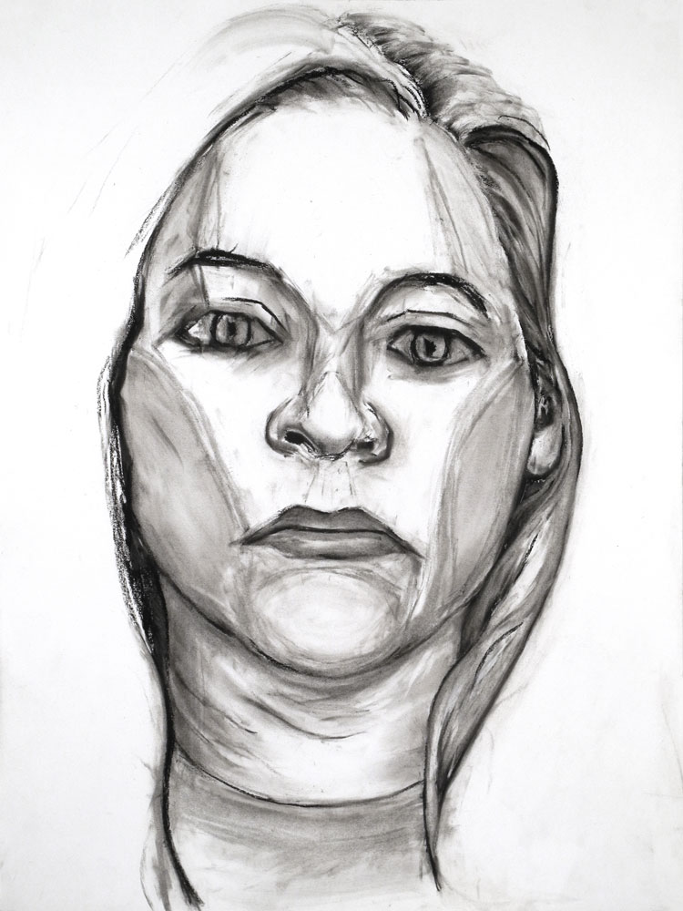 """""""Model from Crime Page"""" charcoal drawing by Paul Dodd 2012"""