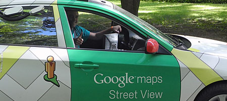 Google Street View car on our street, Rochester, New York
