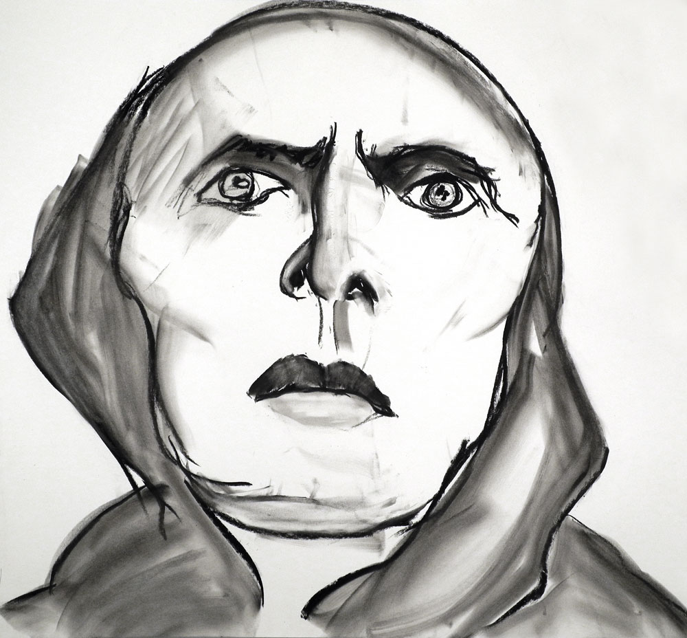 """Paul Dodd charcoal drawing entitled """"Still From Passion Of St Joan 01"""" 2012"""