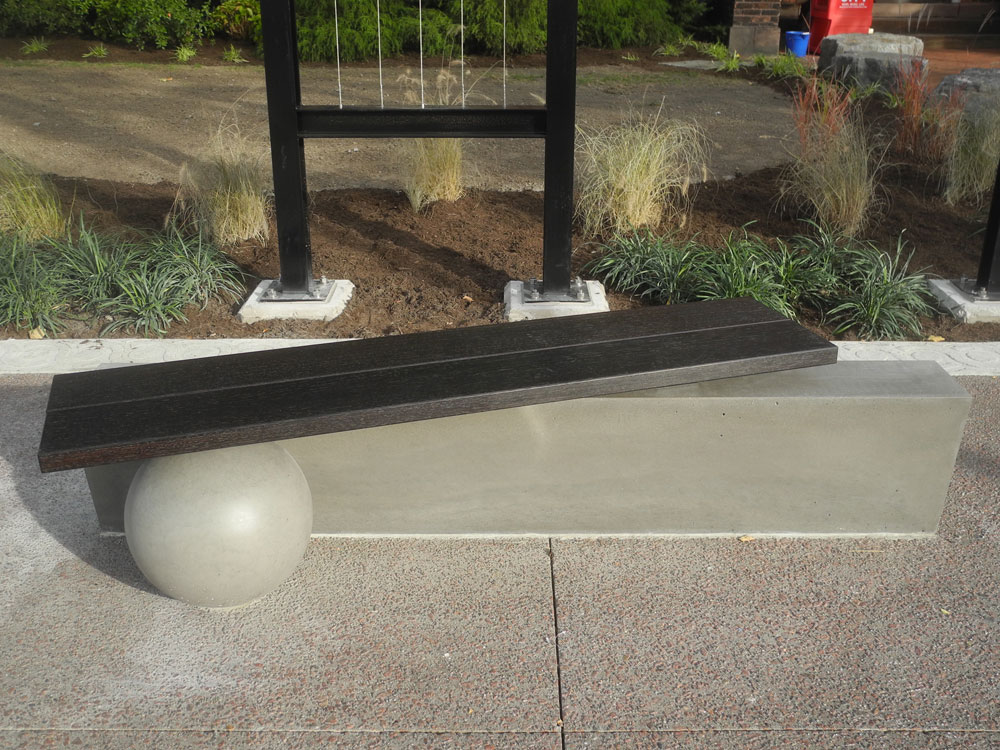 Bench designed by John Dodd in front of City Newspaper building in Rochester New York
