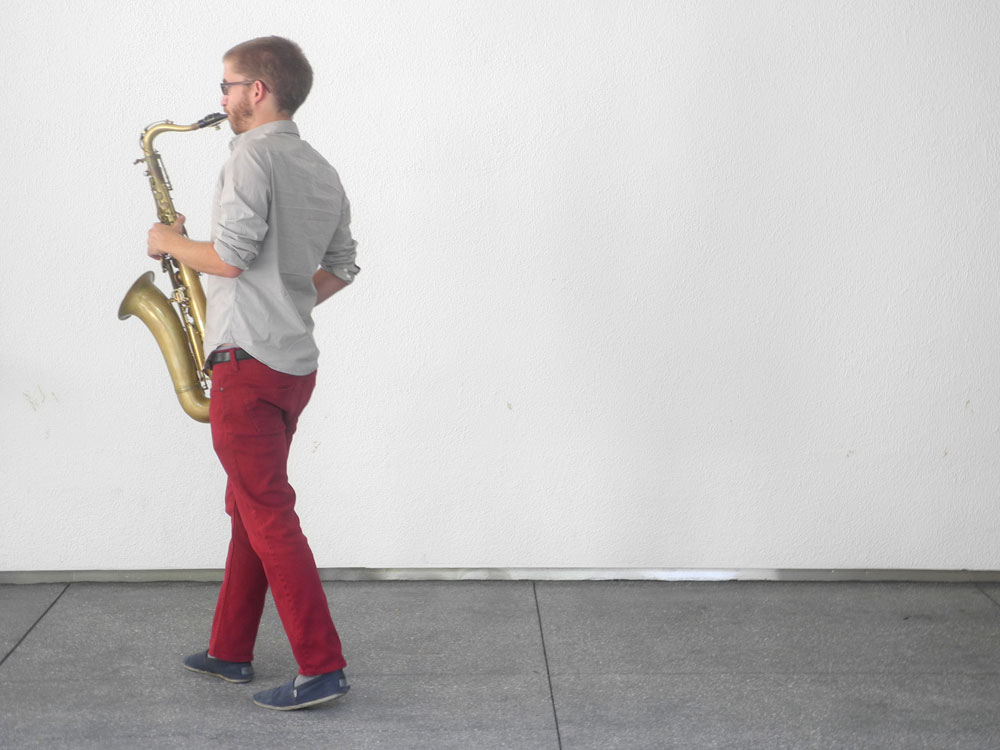 Sax player at the Hammer Museum in Los Angeles